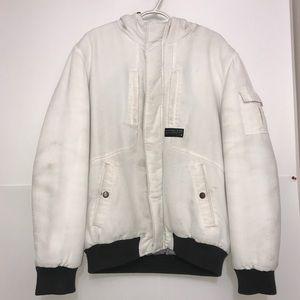 Jack&Jones White Winter Puffer Hood Zip Up Jacket